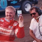 1993 Stateline Speedway Autograph Night - Spanky and Rich exchanging autograph cards